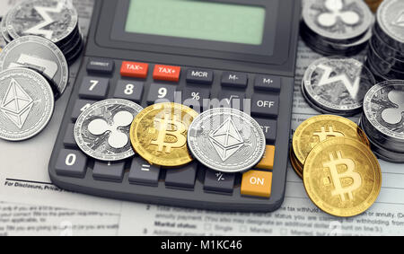 Cryptocurrency income tax calculation concept. Three popular cryptocurrencies laying on the calculator keyboard. - Stock Photo