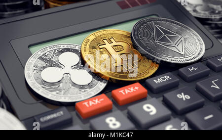 Cryptocurrency income tax calculation concept. 3D rendering - Stock Photo