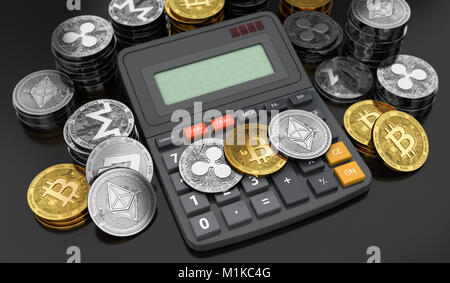 Cryptocurrencies coins laying down on the calculator. Calculating numbers for income tax. 3D rendering - Stock Photo