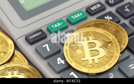 Bitcoin coins laying on calculator keyboard. Tax preparation concept. 3D rendering - Stock Photo