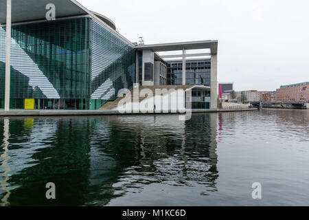 Berlin modern architecture of German Federal Government and Chancellery building symbolizing German Unity located - Stock Photo