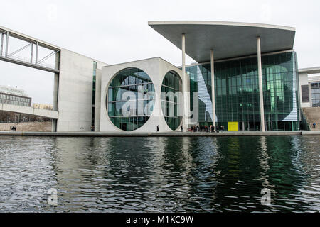 Berlin modern architecture of German Federal Government and Chancellery building located by the River Spree - Stock Photo