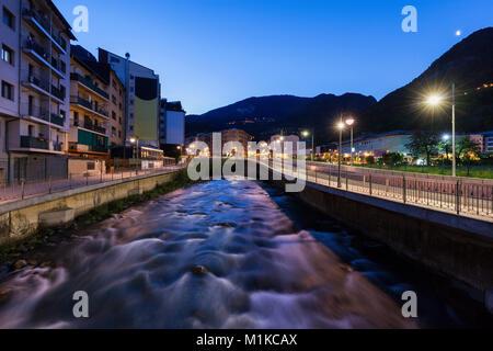 Architecture of Andorra la Vella. Andorra la Vella, Andorra. - Stock Photo