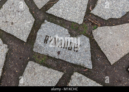 Rymanow - Names of death camps are engraved in stones at the Memorial to the Sinti and Roma Victims of National - Stock Photo