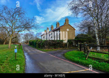 Hainault Forest, Essex, England, UK  - December 26, 2017: Row of cottages in Epping Forest, used for rangers, taken - Stock Photo