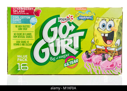 Winneconne, WI -  24 January 2018: A package of Yoplait Gogurt featuring SpongeBob on an isolated background. - Stock Photo