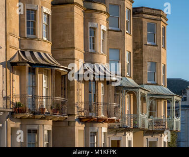 Elegant Georgian bows bays and balconies on Sion Hill facing the Clifton Suspension Bridge in the most fashionable - Stock Photo
