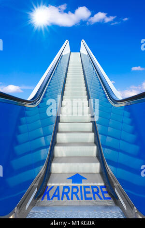 Escalator into a blue sky, german text karriere meaning career, concept for achievement of climbing the job ladder - Stock Photo