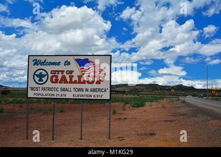 GALLUP, NEW MEXICO - JULY 22: Welcome sign to Gallup, most patriotic small town in America on July 22, 2017 in Gallup, - Stock Photo