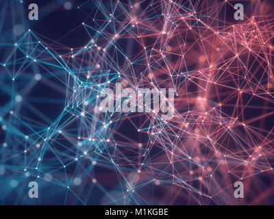 3D illustration of connections and dots representing the concept of cloud computing. - Stock Photo