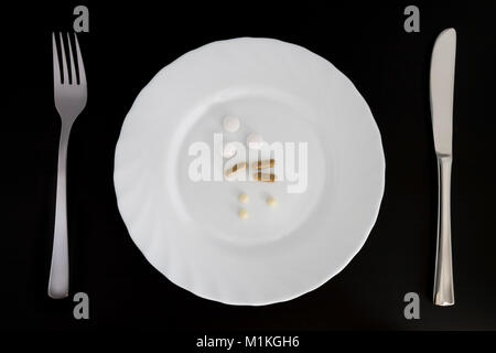 Medicine on a plate as a main meal - Stock Photo