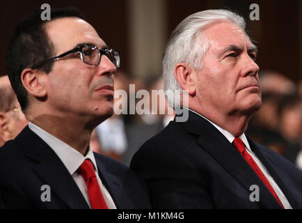 Washington, DC, USA. 30th Jan, 2018. Treasury Secretary Steven Mnuchin (L) and U.S. Secretary of State Rex Tillerson - Stock Photo