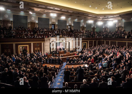 Washington, USA. 30th Jan, 2018. President Donald J Trump gives his first State of the Union to both Houses of Congress - Stock Photo