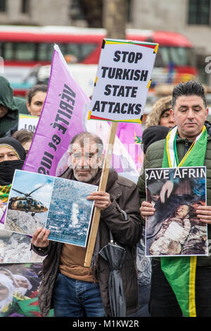 London,UK. 31 January, 2018. Protesters gathered on Parliament Square to demonstrate against Turkey's treatment - Stock Photo