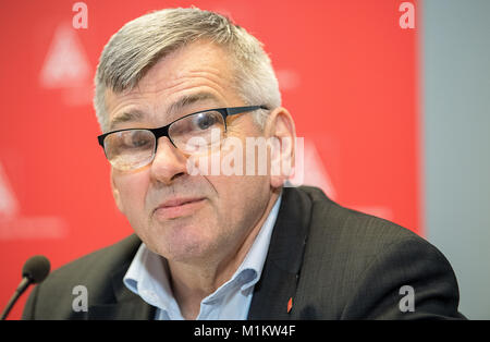 Stuttgart, Germany. 27th Jan, 2018. Joerg Hofmann, first chairman of the IG Metall (Industrial Union of Metalworkers), - Stock Photo