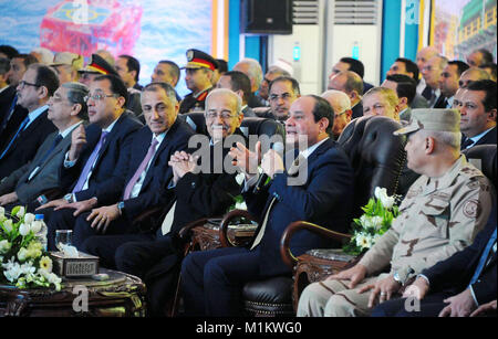 Suez Canal, Port Said, Egypt. 31st Jan, 2018. Egyptian President Abdel Fattah al-Sisi speaks during an official - Stock Photo