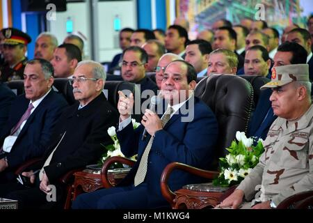 Suez Canal, Port Said, Egypt. 12th Jan, 2016. Egyptian President Abdel Fattah al-Sisi speaks during an official - Stock Photo