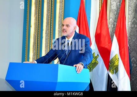 Suez Canal, Port Said, Egypt. 12th Jan, 2016. Claudio Descalzi, Chief Executive Officer of Italian energy giant - Stock Photo