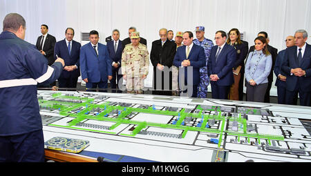 Suez Canal, Port Said, Egypt. 12th Jan, 2016. Egyptian President Abdel Fattah al-Sisi looks at mockups of natural - Stock Photo