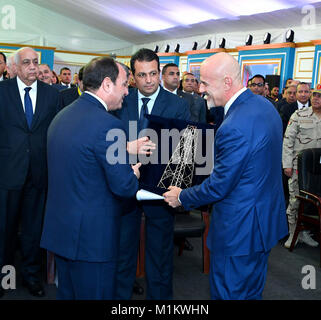 Suez Canal, Port Said, Egypt. 12th Jan, 2016. Egyptian President Abdel Fattah al-Sisi attends an official ceremony - Stock Photo