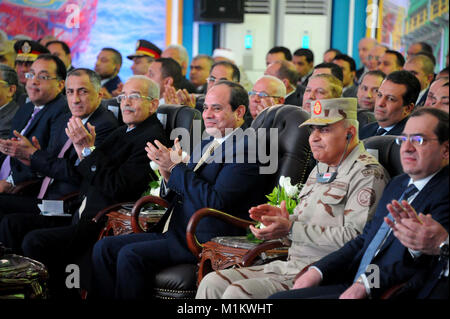 Suez Canal, Port Said, Egypt. 31st Jan, 2018. Egyptian President Abdel Fattah al-Sisi attends an official ceremony - Stock Photo