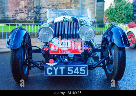 Paisley, Scotland, UK. 31st January 2018: Front view of an Aston Martin classic car. The Monte Carlo Rally starts - Stock Photo