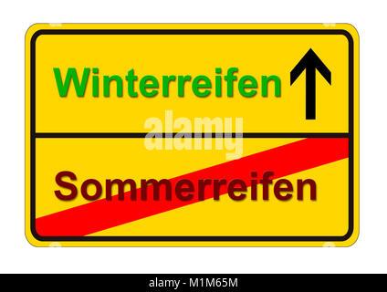 Ortsschild zeigt den Weg von Sommerreifen zu Winterreifen - Stock Photo