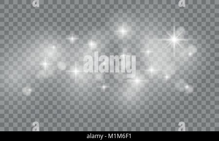 Set of Star burst and sparkles with glowing light effects. Sun flash with spotlight isolated on transparent background. - Stock Photo