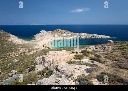 Aghios Sostis beach and whitewashed Greek church on island's east coast, Serifos, Cyclades, Aegean Sea, Greek Islands, - Stock Photo