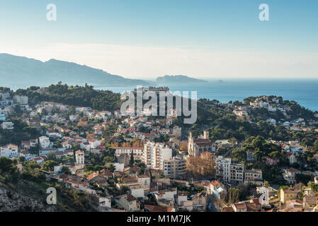 Aerial panoramic view of Marseille from basilica of Notre Dame de la Garde in Marseille, Provence, France. - Stock Photo