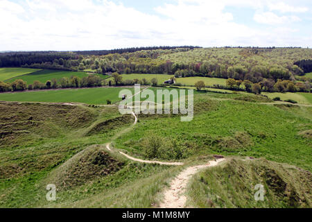 View from Cley Hill towards Longleat Estate in Wiltshire UK. - Stock Photo