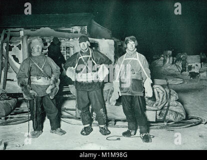 Henry Robertson Bowers, Edward Adrian Wilson and Apsley Cherry-Garrard, Austral Winter 1911, about to leave for - Stock Photo