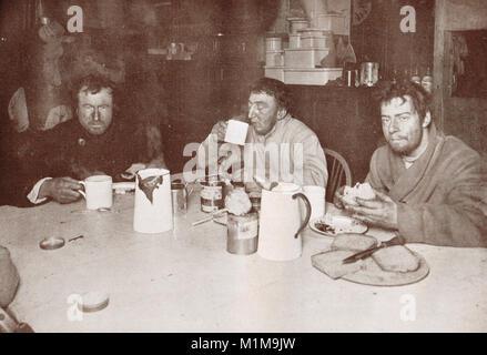 Edward Adrian Wilson, Henry Robertson Bowers and Apsley Cherry-Garrard, Cape Evans, Ross Island, Antarctica, 1 August - Stock Photo