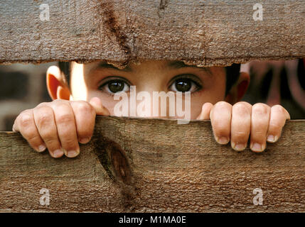 Small boy with dark brown eye's looking through gap in old broken wooden fence.peering in to the future - Stock Photo