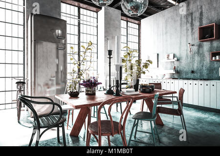 Dining room with tables, chairs and houseplants in spacious modern renovated home with light streaming from windows. - Stock Photo