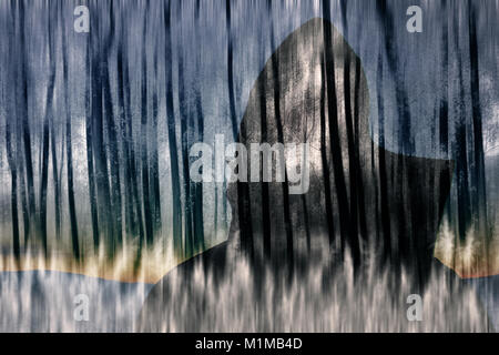 abstract double exposure man silhouette and blurred spooky forest - Stock Photo