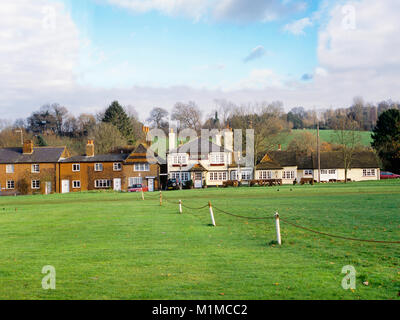 Looking across the village green towards the Red Lion Public House Shamley Green Surrey England UK on a lovely summers - Stock Photo