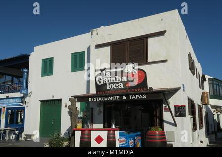 Restaurant in El Golfo, Lanzarote - Stock Photo