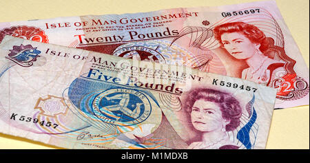 Isle of Man Currency Manx Pounds Bank Notes - Stock Photo
