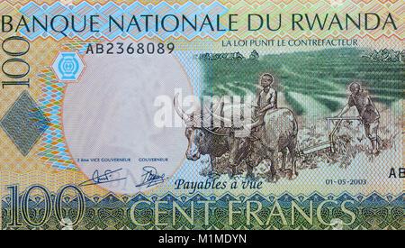 Rwanda 100 One Hundred Francs Bank Notes - Stock Photo