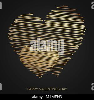 Valentine's day greeting card hand drawn line gold heart.Vector. - Stock Photo