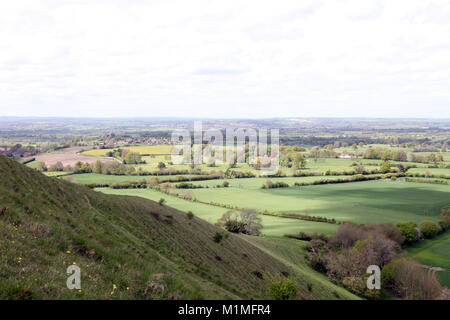 View towards the town of Frome from Cley Hill near Longleat in Wiltshire. UK - Stock Photo