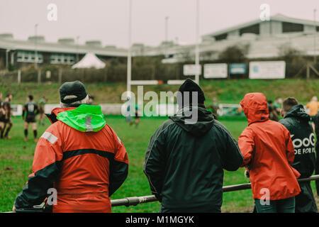 Penryn RFC vs Hayle RFC at The Memorial Stadium, Penryn, Cornwall, UK, 27th January 2018 - Stock Photo