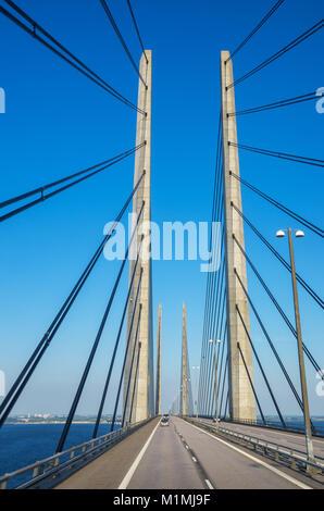 View of Oresund Bridge between Denmark and Sweden, Scandinavia, Europe - Stock Photo