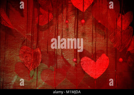 abstract red love decoration background with many heart - Stock Photo