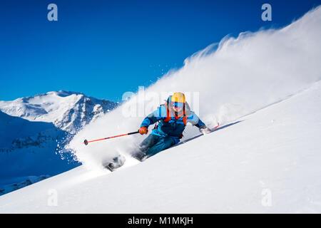Man Skiing in the Austrian Alps,Sportgastein,Salzburg,Austria - Stock Photo