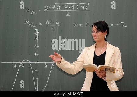 School Teacher gives lessons MR, Schule - Lehrerin gibt Unterricht MR - Stock Photo