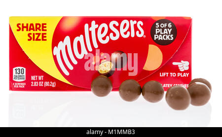 Winneconne, WI -  28 January 2018: A package of Maltesers in share size on an isolated background. - Stock Photo