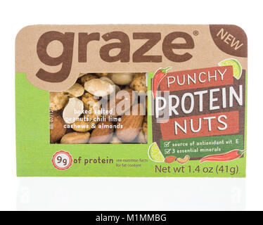 Winneconne, WI -  28 January 2018: A package of Graze punchy protein nuts on an isolated background. - Stock Photo