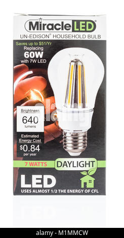 Winneconne, WI - 31 January 2018: A package Miracle led light bulb on an isolated background. - Stock Photo